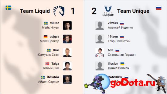 Team Liquid vs Team Unique на ESL One LA Online