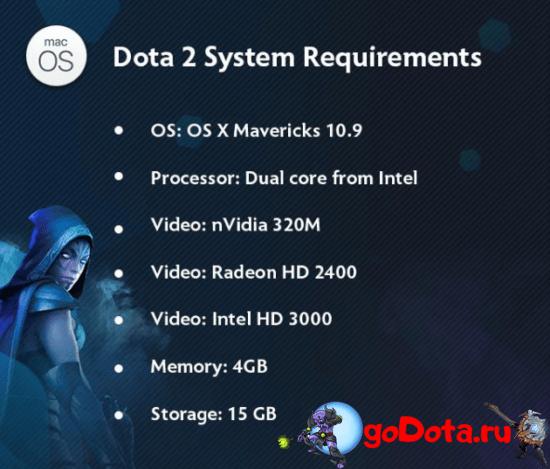 Минимальные сист. требования для Dota 2 на Mac OS